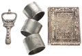 Miscellaneous:Ephemera, Group of five sterling silver items, including: Three 1897 Diamond Jubilee napkin rings. [together with:] A bottle ope... (Total: 5 Items)