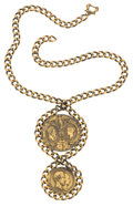 Miscellaneous:Ephemera, Double-pendant, gilt on alloy necklace. Commemorating a visit fromthe French King Louis Philippe to Queen Victoria, 1844.. ...
