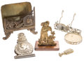Miscellaneous:Ephemera, Assortment of Victorian brass and alloy novelties, including aletter holder, cup and saucer stand, wax seal stamp, large clip...(Total: 5 Items)