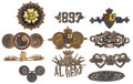 Miscellaneous:Ephemera, Group of eleven lapel pins; seven 1897 Diamond Jubilee including aswivel bezel; three Victoria commemorative fashioned from 1...(Total: 11 Items)