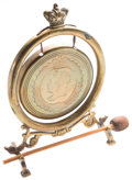 Miscellaneous:Ephemera, Victorian brass gong with wood mallet. [ca. 1890].. ...