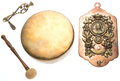 Miscellaneous:Ephemera, Golden Jubilee brass and copper wall mount dinner gong and mallet.Made by William Tonks & Sons, 1887.. ...