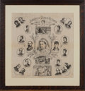 Miscellaneous:Ephemera, Jubilee of Queen Victoria, 1887. A linen scarf illustratedwith portraits of Victoria's children and Prime Ministers....