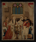 Miscellaneous:Ephemera, Beaded petit point of Victoria and Albert attending an infant'sbaptism, ca. 1840.. ...