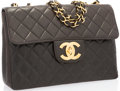 "Luxury Accessories:Accessories, Chanel Black Quilted Lambskin Leather Jumbo Single Flap Bag withGold Hardware. 12"" Width x 8"" Height x 5"" Depth.Good..."