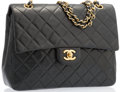 "Luxury Accessories:Accessories, Chanel Black Quilted Lambskin Leather Square Double Flap Bag. Very Good Condition. 10"" Width x 7.5"" Height x 3"" Depth..."