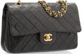 "Luxury Accessories:Accessories, Chanel Black Quilted Lambskin Leather Medium Double Flap Bag withGold Hardware. Good to Very Good Condition. 10""Widt..."