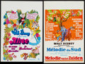 "Movie Posters:Animation, Song of the South & Other Lot (Elan, R-1970s). Belgians (2)(14"" X 21"", 14.25"" X 20.5""). Animation.. ... (Total: 2 Items)"
