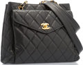 "Luxury Accessories:Accessories, Chanel Black Quilted Caviar Leather Tote Bag with Gold Hardware.Very Good to Excellent Condition. 12"" Width x 9.5""He..."