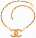 """Luxury Accessories:Accessories, Chanel Glass Pearl & Gold CC Logo Necklace. 1.5"""" Width x 15"""" Length. Very Good Condition. ..."""