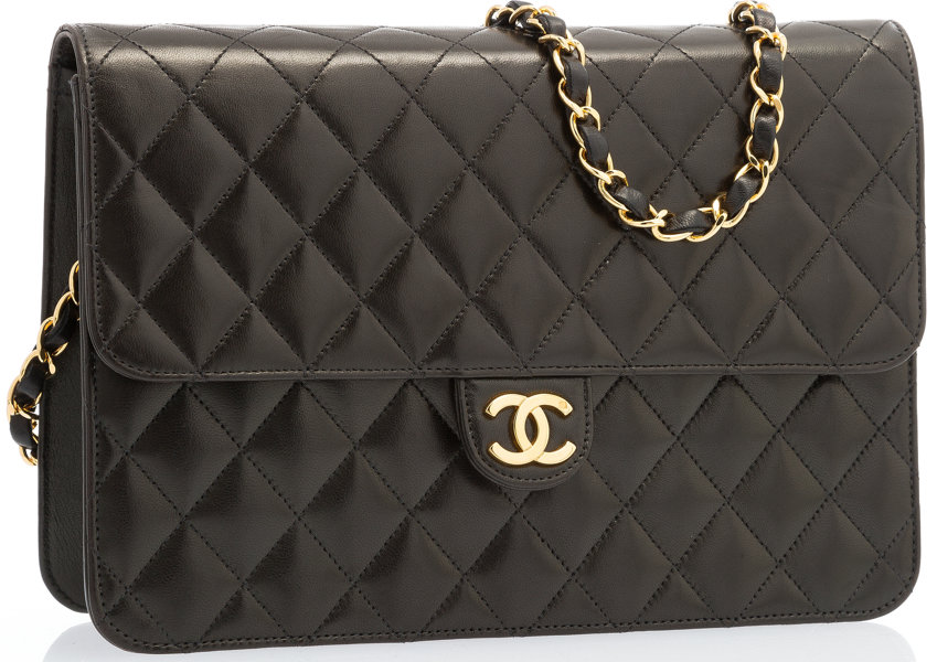3172e2d8600a5c Luxury Accessories:Bags, Chanel Black Quilted Lambskin Leather Flap Bag  with Gold Hardware.