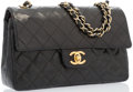 "Luxury Accessories:Bags, Chanel Black Quilted Lambskin Leather Medium Double Flap Bag withGold Hardware. Good Condition. 9"" Width x 6"" Height..."