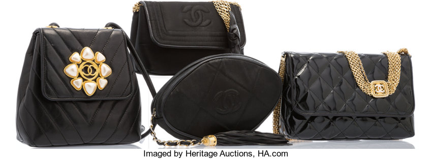 c62fe1b406968a ... Luxury Accessories:Bags, Chanel Set of Four; Black Quilted Patent  Leather, Lambskin ...