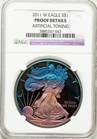 2011-W $1 Silver Eagle -- Artificial Toning -- NGC Details. Proof. NGC Census: (0/0). PCGS Population (0/0). Numismedia...