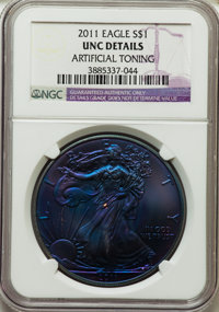 2011 $1 Silver Eagle, 25th Anniversary -- Artificial Toning -- NGC Details. Unc. NGC Census: (0/0). PCGS Population (0/0...
