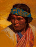 Fine Art - Painting, American:Contemporary   (1950 to present)  , Paul Mullally (American, b. 1947). Tarahumara, Creel,Mexico, 1985. Oil on board. 16 x 12 inches (40.6 x 30.5 cm).Signe...