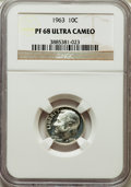Proof Roosevelt Dimes: , 1963 10C PR68 Ultra Cameo NGC. NGC Census: (522/156). PCGSPopulation (504/198). Numismedia Wsl. Price for problem free NG...