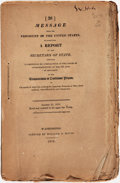 Books:Americana & American History, [James Monroe]. Message from the President of the UnitedStates... Washington, D.C.: Printed by William A. Davis, 18...