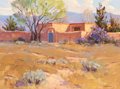 Fine Art - Painting, American:Contemporary   (1950 to present)  , Bill Warden (American, 1927-1991). Hacienda. Oil on board.13-1/2 x 17-1/2 inches (34.3 x 44.5 cm). Signed lower right: ...