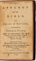 Books:Religion & Theology, [Theology]. R. Watson. An Apology for the Bible, in a Series ofLetters, Addressed to Thomas Paine... Lichfield: T. ...