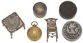Miscellaneous:Ephemera, Collection of coin related novelties; a miniature silver table andchair set and a coin box fashioned from British coins; a gi...(Total: 6 Items)