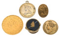 "Miscellaneous:Ephemera, Group of three brass shirt studs, one fashioned from an 1871 1¢coin and monogrammed ""GPM"" verso; one gilt alloy snap; one sma...(Total: 5 Items)"
