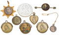 Miscellaneous:Ephemera, Assortment of nine photograph pins, pendants and charms, 1897-1911,includes three swivel advertising novelties.. ... (Total: 9 Items)