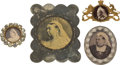 Miscellaneous:Ephemera, Three alloy Queen Victoria photograph brooches and one belt buckle,ca. 1890.. ... (Total: 4 Items)