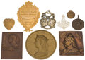 Miscellaneous:Ephemera, Group of five pendants, three brass Queen Victoria; onecopper Lord Roberts, Society of Miniature Rifle Club... (Total:9 Items)