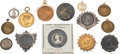 Miscellaneous:Ephemera, Group of nine pendants fashioned from silver, copper and brasscoins, 1837 to 1901 and five brooches from 1862 to 1899 British...(Total: 14 Items)