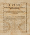 Miscellaneous:Broadside, [Broadsides, Religion]. Eighteenth-Century Broadside Entitled,Ein Brief So Von Gott Selbsten Geschreiben und zu Magdebu...
