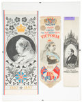 Miscellaneous:Ephemera, Group of three silk commemorative ribbons. 1897 Diamond Jubilee,1887 Golden Jubilee, and Prince Albert....