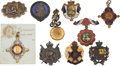 Miscellaneous:Ephemera, Group of ten commemorative pins and pendants; eight Jubilee, twomemoriam, two Edward VII and Mary, gilt alloy, 1887 - 1911....(Total: 10 Items)