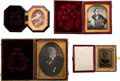 Photography:Daguerreotypes, Four vintage booked photographs of unidentified subjects, n.d. Two gelatine prints and two daguerreotypes in two latching le... (Total: 4 Items)