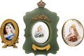 Miscellaneous:Ephemera, Three miniature portraits of Queen Victoria, ca. 1887. Enameledbrass in a brass easel frame, unknown artist; porcelain by D...(Total: 3 Items)