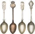 Miscellaneous:Ephemera, Group of four silver souvenir spoons, including: Canada, mark ofWilliam A. Rogers, 1939. [together with:] Three Victo... (Total: 4Items)