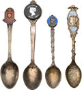 Miscellaneous:Ephemera, Group of four sterling silver, gilt and enameled souvenir spoons,including: Victoria Memoriam, 1901. [together with:]... (Total: 4Items)