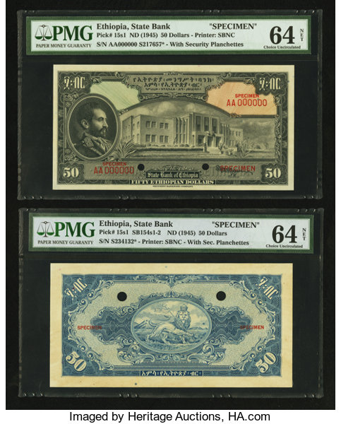 Ethiopia State Bank Of 50 Ethiopian Dollars Nd 1945 Lot 26648 Heritage Auctions
