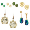 Estate Jewelry:Earrings, Multi-Stone, Diamond, Cultured Pearl, Gold, Gilt Earrings. ...