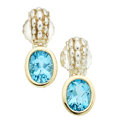 Estate Jewelry:Earrings, Blue Topaz, Gold, Sterling Silver Earrings, Leverington. ...