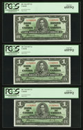 Canadian Currency: , BC-21d $1 1937 Three Consecutive Examples. ... (Total: 3 notes)