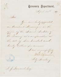1871 Andy Leonard Washington Olympics Baseball Contract via U.S. Treasury Department Appointment Letter