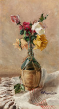 Fine Art - Painting, European:Antique  (Pre 1900), Continental School (20th Century). Still Life with Roses in WineBottle. Oil on canvas. 18 x 10 inches (45.7 x 25.4 cm)...