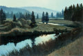 Fine Art - Painting, American:Contemporary   (1950 to present)  , Pete Jordan (American, b. 1949). Peaceful River. Oil onboard. 9 x 13-1/4 inches (22.9 x 33.7 cm) (sight). Signed lower ...