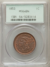1853 1C MS64 Brown PCGS. PCGS Population (250/118). NGC Census: (6/3). Mintage: 6,641,131. Numismedia Wsl. Price for pro...