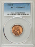 Lincoln Cents: , 1932-D 1C MS66 Red PCGS. PCGS Population (207/15). NGC Census: (78/13). Mintage: 10,500,000. Numismedia Wsl. Price for prob...