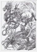 Original Comic Art:Splash Pages, Ruben Meriggi (attributed) - Dragon Riders Splash Page Original Art(2001)....