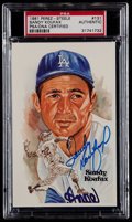 Baseball Cards:Singles (1970-Now), 1981 Sandy Koufax Signed Perez-Steele Postcard PSA Authentic....