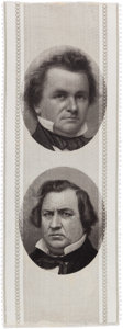 Political:Ribbons & Badges, Douglas & Johnson: A Supreme Campaign Ribbon Rarity, the Key to this Iconic 1860 Set....