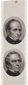 """Political:Ribbons & Badges, Bell & Everett: One of Only Three Known Jugate Ribbon Designs for this 1860 """"Union and Constitution"""" Ticket...."""